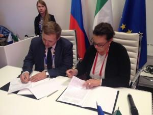 Maria Cristina Porta di ComoNExT durante la firma degli accordi